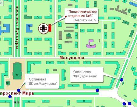 Поликлиника №6, карта проезда